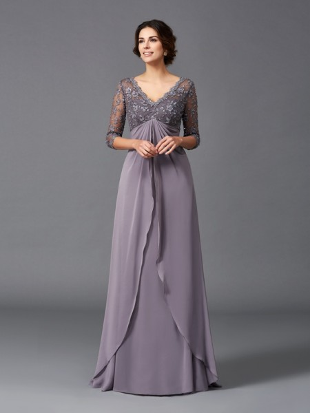 A-Line/Princess V-neck 3/4 Sleeves Floor-Length Chiffon Mother Of The Bride Dress with Lace