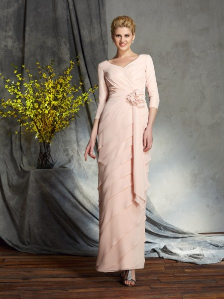 Sheath/Column V-neck 3/4 Sleeves Chiffon Floor-Length Mother Of The Bride Dress with Hand-Made Flower