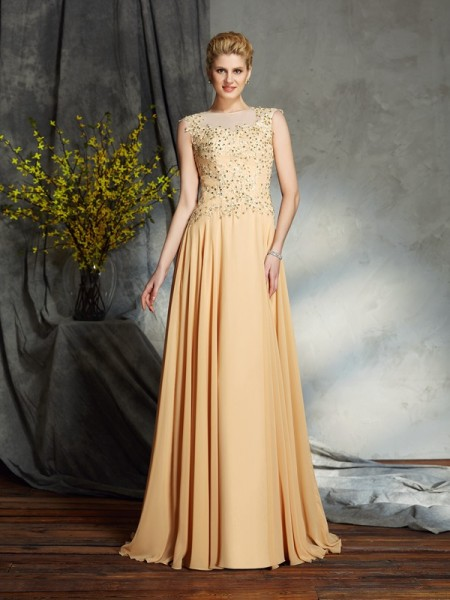 A-Line/Princess Scoop Sleeveless Chiffon Floor-Length Mother Of The Bride Dress