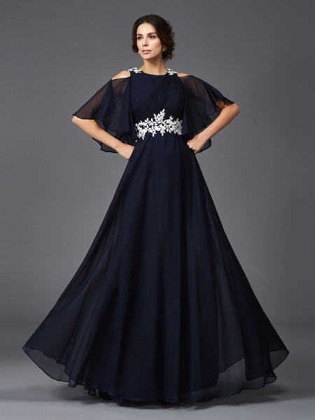 A-Line/Princess Straps 1/2 Sleeves Floor-Length Chiffon Mother Of The Bride Dress with Applique