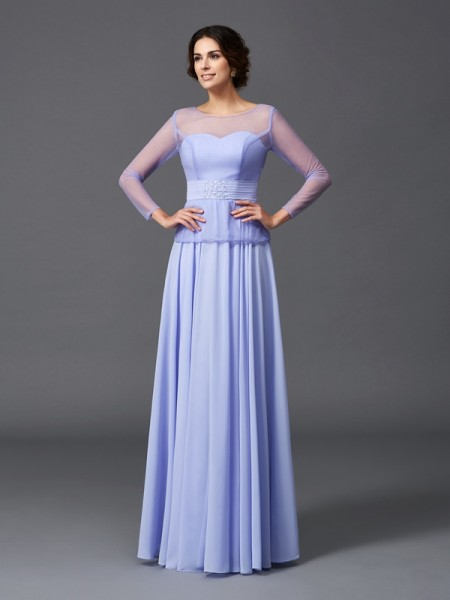 A-Line/Princess Scoop Long Sleeves Floor-Length Chiffon Mother Of The Bride Dress with Ruffles