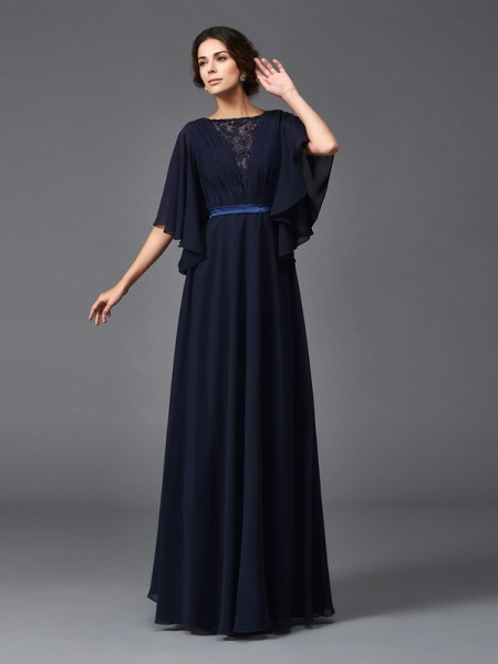 A-Line/Princess Scoop 1/2 Sleeves Floor-Length Chiffon Mother Of The Bride Dress with Beading