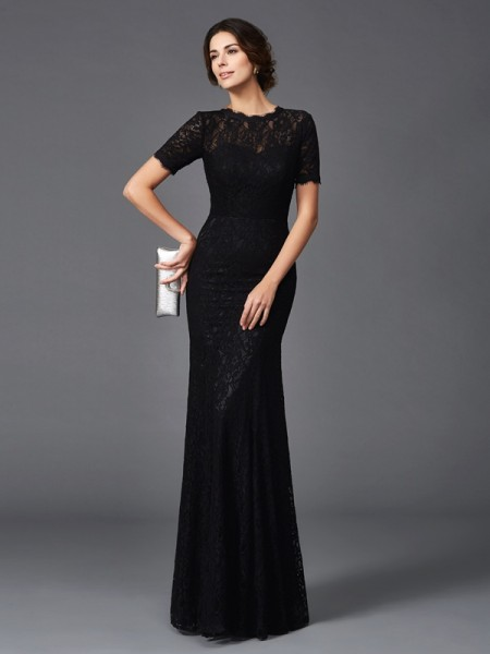 Sheath/Column Short Sleeves Jewel Floor-Length Elastic Woven Satin Mother Of The Bride Dress with Lace