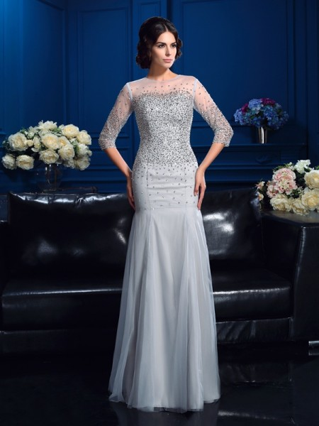 Sheath/Column Scoop 3/4 Sleeves Floor-Length Net Mother Of The Bride Dress with Beading