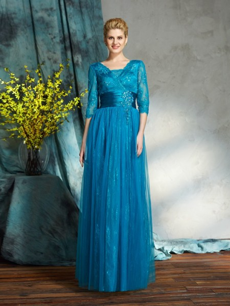 A-Line/Princess V-neck 3/4 Sleeves Net Floor-Length Mother Of The Bride Dress