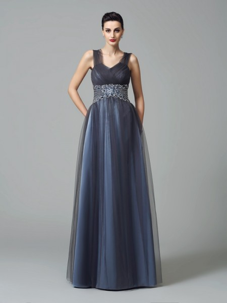A-Line/Princess Straps Sleeveless Floor-Length Net Mother Of The Bride Dress with Beading