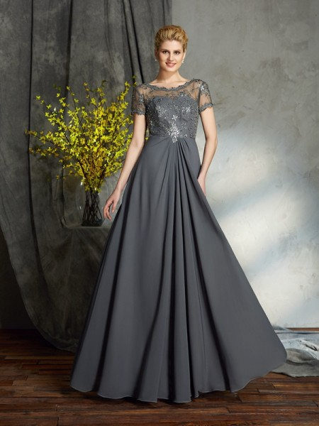 A-Line/Princess Short Sleeves Scoop Chiffon Floor-Length Mother Of The Bride Dress