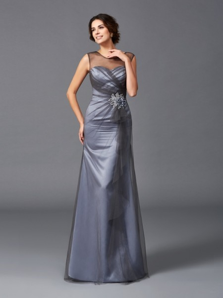 Sheath/Column Sleeveless Scoop Floor-Length Net Mother Of The Bride Dress with Beading