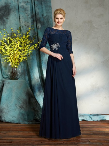 A-Line/Princess Bateau 1/2 Sleeves Floor-Length Chiffon Mother Of The Bride Dress with Beading
