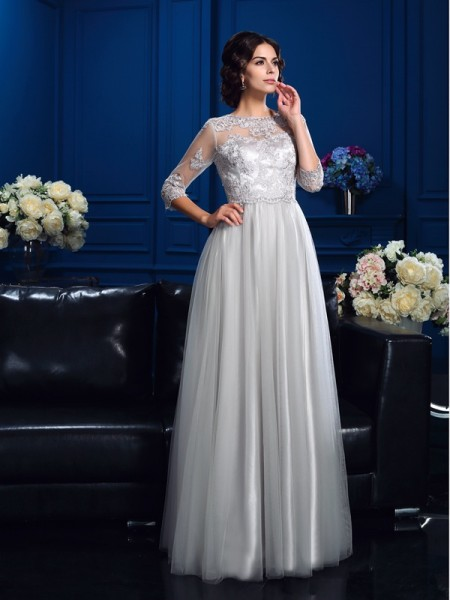 A-Line/Princess Scoop 3/4 Sleeves Floor-Length Elastic Woven Satin Mother Of The Bride Dress