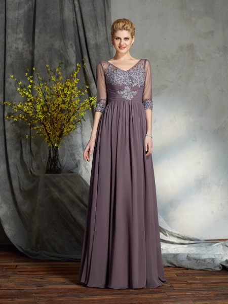 A-Line/Princess V-neck 1/2 Sleeves Floor-Length Chiffon Mother Of The Bride Dress