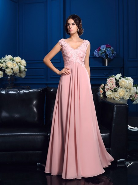 A-Line/Princess V-neck Sleeveless Floor-Length Chiffon Mother Of The Bride Dress