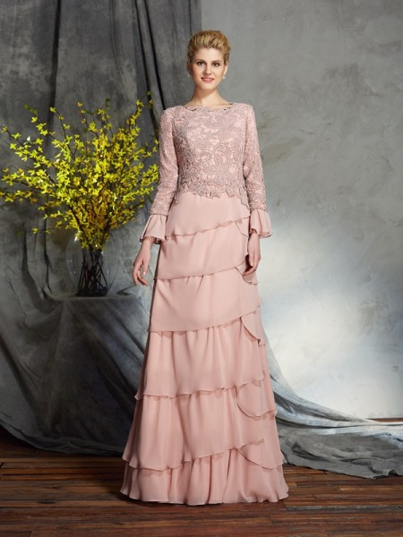 Sheath/Column Scoop Long Sleeves Chiffon Floor-Length Mother Of The Bride Dress with Ruffles
