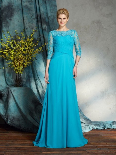 A-Line/Princess Bateau 3/4 Sleeves Chiffon Floor-Length Mother Of The Bride Dress with Applique