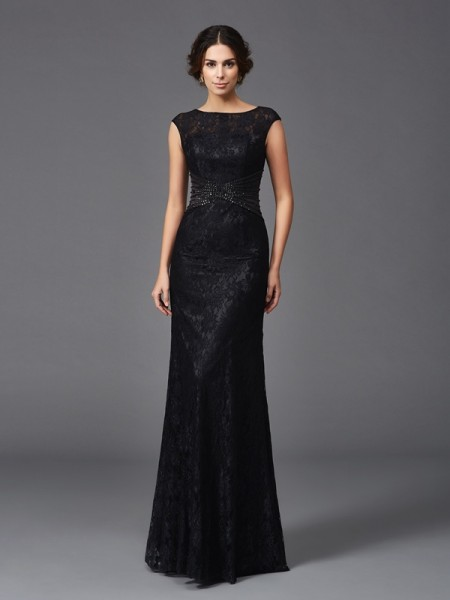 Sheath/Column Sleeveless Scoop Floor-Length Mother Of The Bride Dress with Lace with Beading