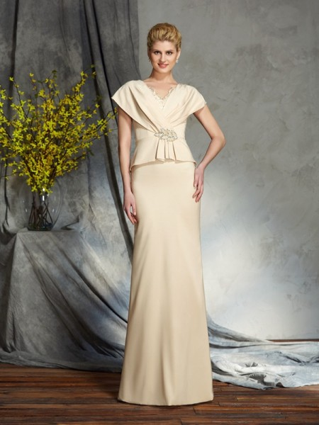 Sheath/Column V-neck Short Sleeves Silk like Satin Floor-Length Mother Of The Bride Dress with Beading