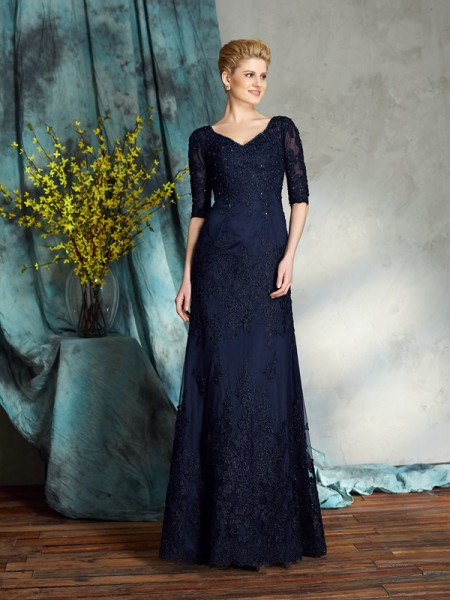 Sheath/Column V-neck 1/2 Sleeves Satin Floor-Length Mother Of The Bride Dress with Applique