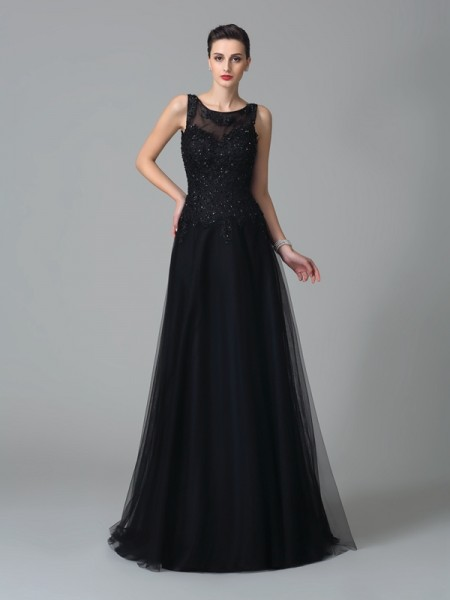 A-Line/Princess Straps Sleeveless Sweep/Brush Train Net Mother Of The Bride Dress with Beading
