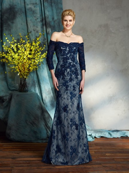 Trumpet/Mermaid Off-the-Shoulder 3/4 Sleeves Floor-Length Mother Of The Bride Dress with Lace