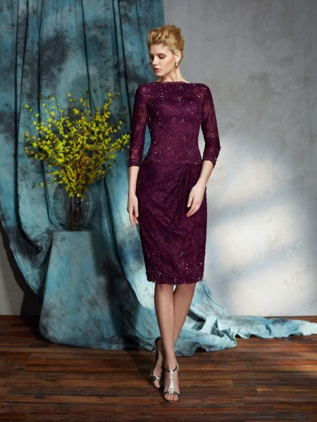 Sheath/Column Bateau 3/4 Sleeves Knee-Length Mother Of The Bride Dress with Lace