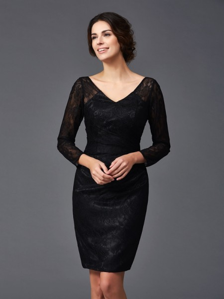 Sheath/Column Long Sleeves V-neck Knee-Length Elastic Woven Satin Mother Of The Bride Dress with Lace