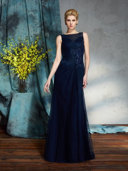 Sheath/Column Bateau Sleeveless Floor-Length Net Mother Of The Bride Dress