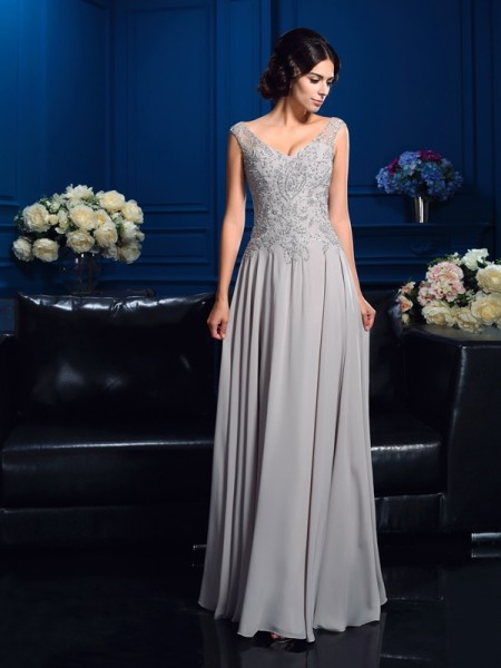 A-Line/Princess V-neck Sleeveless Chiffon Floor-Length Mother Of The Bride Dress with Beading