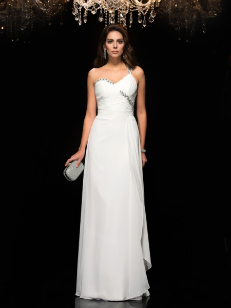 A-Line/Princess Sleeveless One-Shoulder Chiffon Floor-Length Prom Dress with Beading