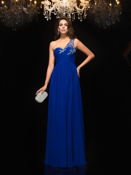 A-Line/Princess One-Shoulder Chiffon Long Dress with Beading