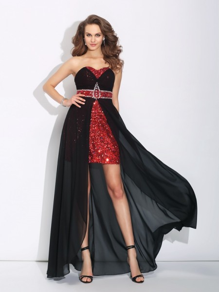 A-Line/Princess Sweetheart Sleeveless Asymmetrical Chiffon Prom Dress with Sequin