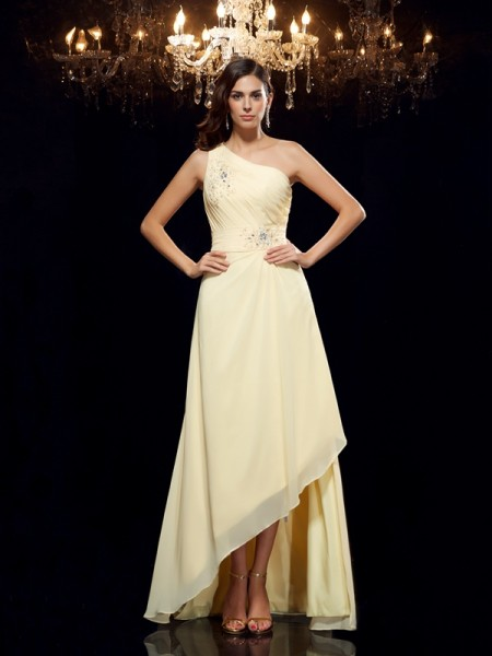 A-Line/Princess One-Shoulder Sleeveless Asymmetrical Chiffon Prom Dress with Beading