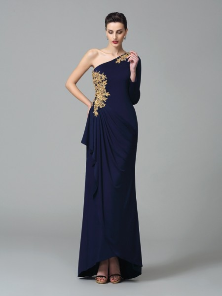 Sheath/Column One-Shoulder Embroidery Long Sleeves Floor-Length Spandex Prom Dress