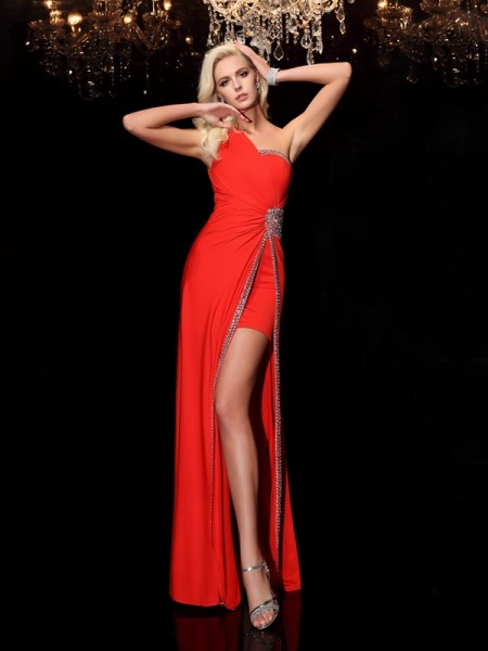 Sheath/Column One-Shoulder Sleeveless Floor-Length Spandex Prom Dress with Beading