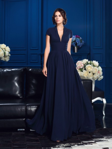 A-Line/Princess V-neck Short Sleeves Chiffon Floor-Length Mother Of The Bride Dress
