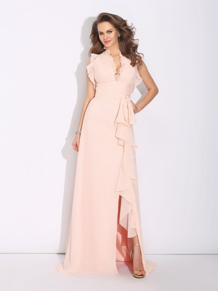 A-Line/Princess High Neck Sleeveless Sweep/Brush Train Chiffon Prom Dress with Ruffles