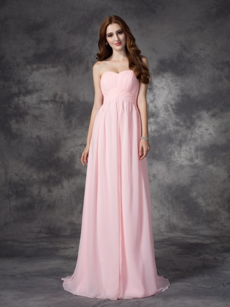 A-line/Princess Sweetheart Sleeveless Sweep/Brush Train Chiffon Prom Dress with Ruched