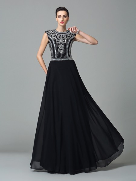 A-Line/Princess Jewel Short Sleeves Floor-Length Chiffon Prom Dress with Beading
