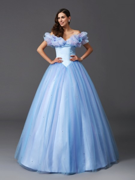 Cinderella Ball Gown Off-the-Shoulder Sleeveless Net Floor-Length Prom Dress with Beading