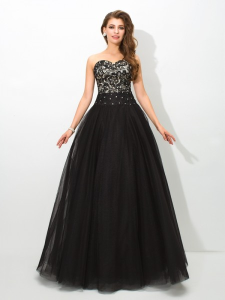 Ball Gown Sweetheart Sleeveless Floor-Length Net Prom Dress with Lace