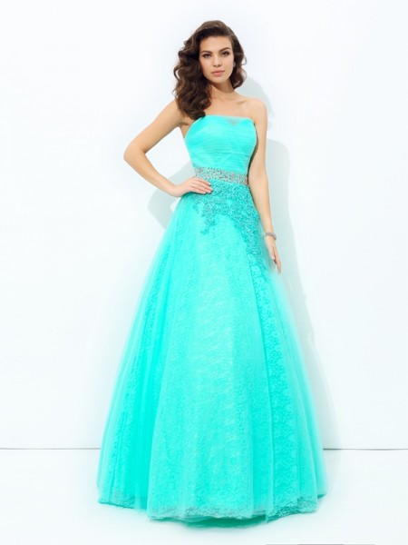 A-Line/Princess Strapless Sleeveless Elastic Woven Satin Floor-Length Prom Dress with Beading