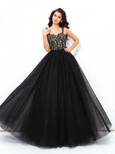 Ball Gown Straps Sleeveless Floor-Length Net Quinceanera Dress with Applique