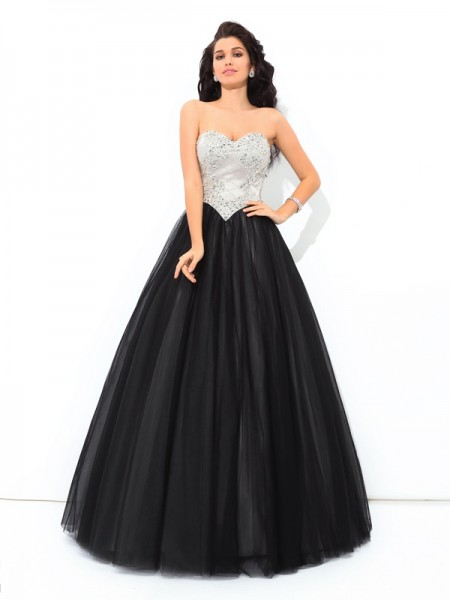 Ball Gown Sweetheart Sleeveless Floor-Length Net Quinceanera Dress with Paillette