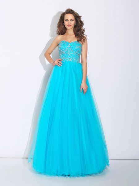 A-Line/Princess Sweetheart Sleeveless Floor-Length Satin Prom Dress with Rhinestone