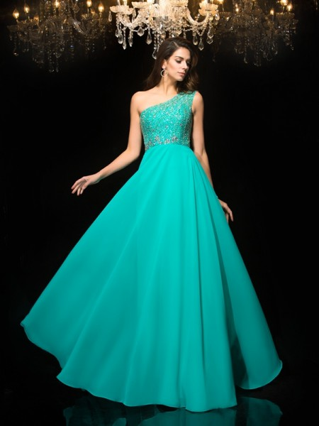 A-Line/Princess One-Shoulder Sleeveless Floor-Length Chiffon Prom Dress with Beading