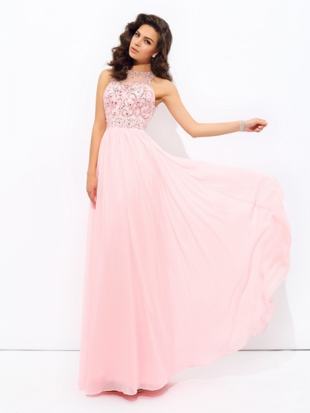 A-Line/Princess Sleeveless Jewel Chiffon Floor-Length Prom Dress with Beading