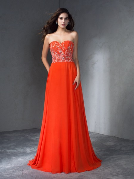 A-Line/Princess Sweetheart Sweep/Brush Train Chiffon Prom Dress with Beading