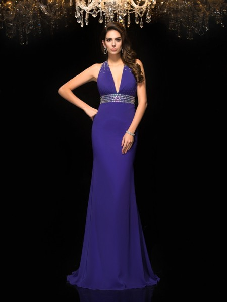 Trumpet/Mermaid V-neck Sleeveless Sweep/Brush Train Chiffon Prom Dress with Beading