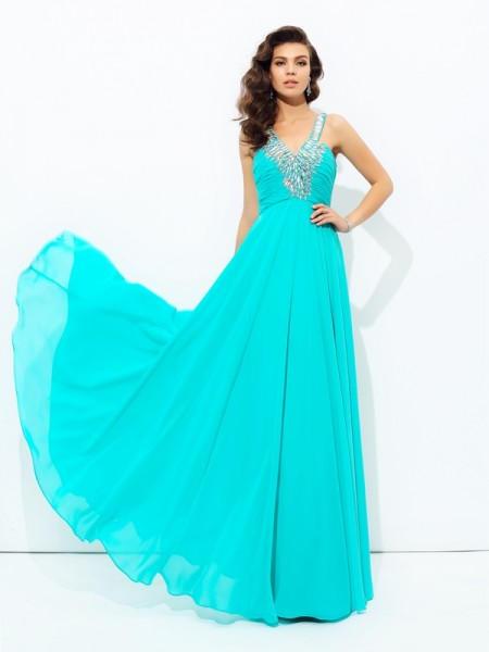 A-Line/Princess V-neck Sleeveless Floor-Length Chiffon Prom Dress with Paillette