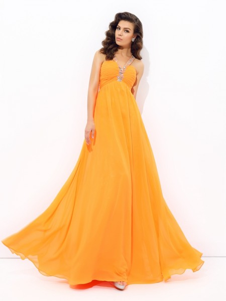 A-Line/Princess V-neck Sleeveless Floor-Length Chiffon Prom Dress with Rhinestone