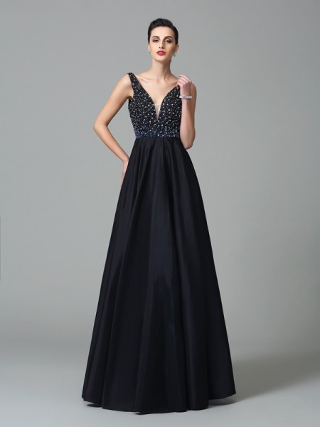 A-Line/Princess Straps Sleeveless Floor-Length Taffeta Prom Dress with Beading